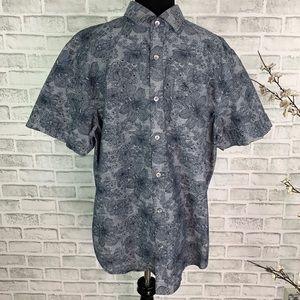 Penguin By Munsingwear Line Drawn Floral Button Up